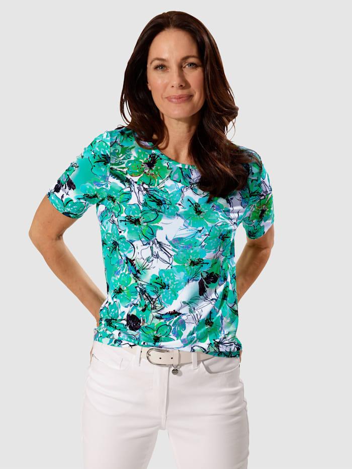 MONA Shirt mit floralem Druckmuster, Grün/Türkis/Weiß