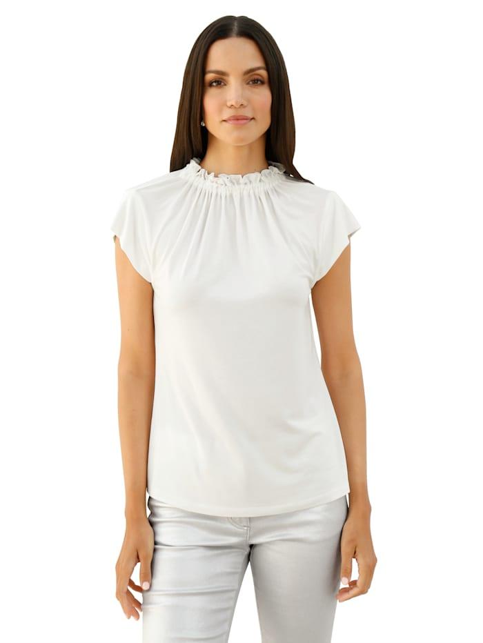 Alba Moda Shirt met ruches aan de opstaande kraag, Wit