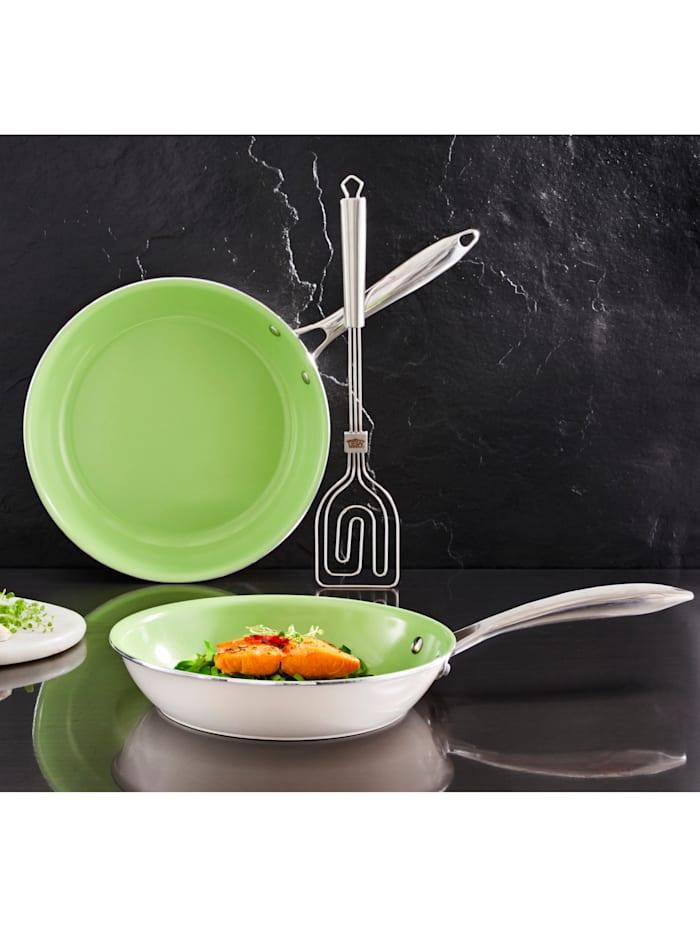 GSW Set van 2 koekenpannen Gourmet Ceramica Color, Groen/Wit