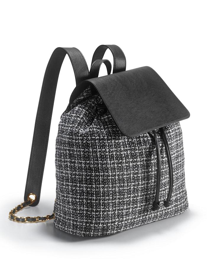 Tweed Rucksack, Schwarz/Weiß