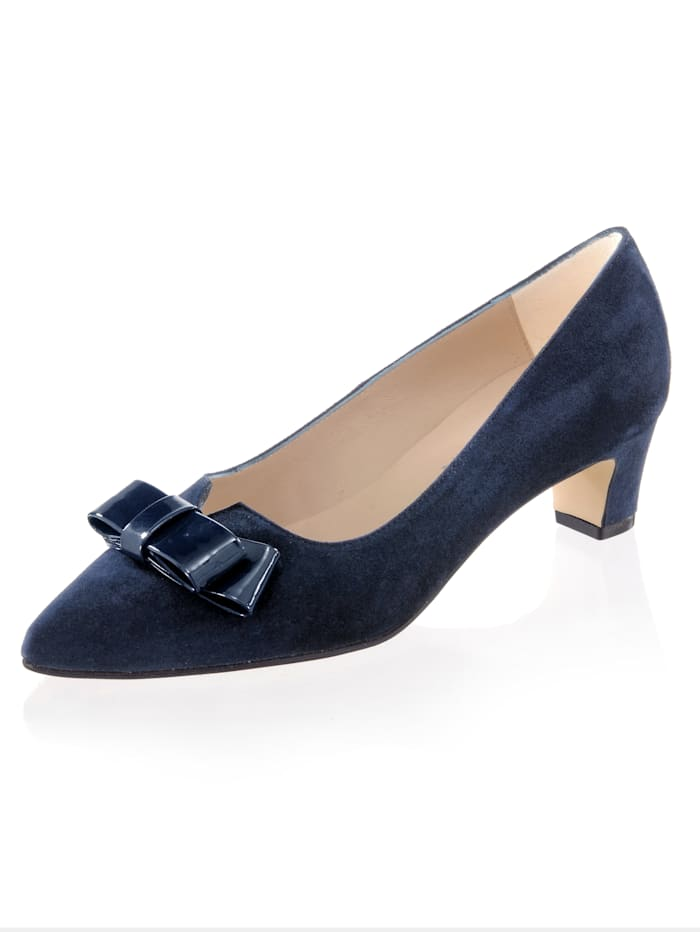 Alba Moda Pumps mit Schleifenapplikation, Marineblau