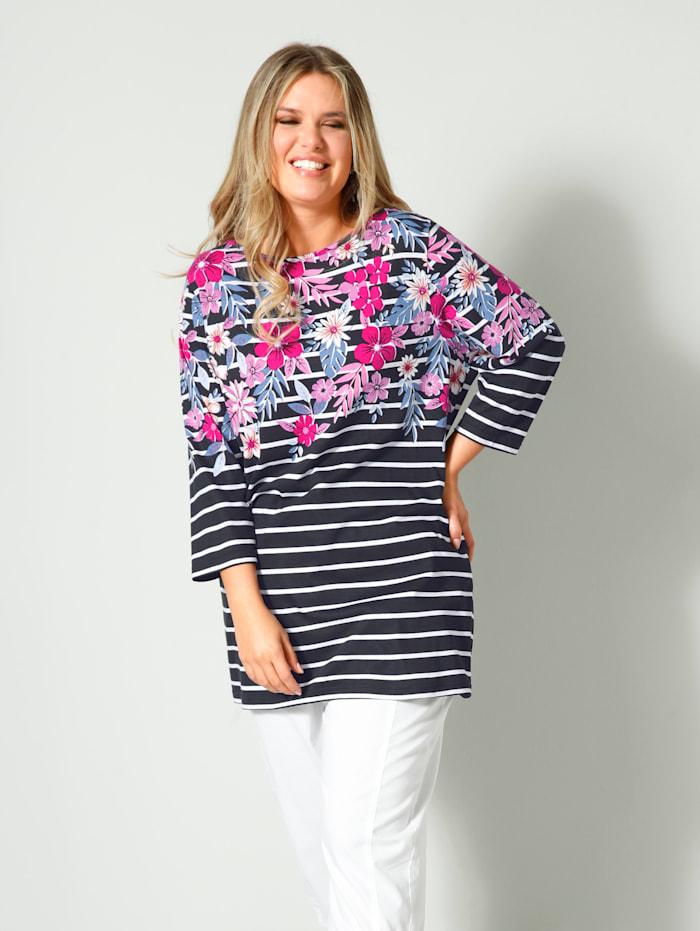 Janet & Joyce Shirt geringelt und mit Flower Print, Schwarz/Weiß