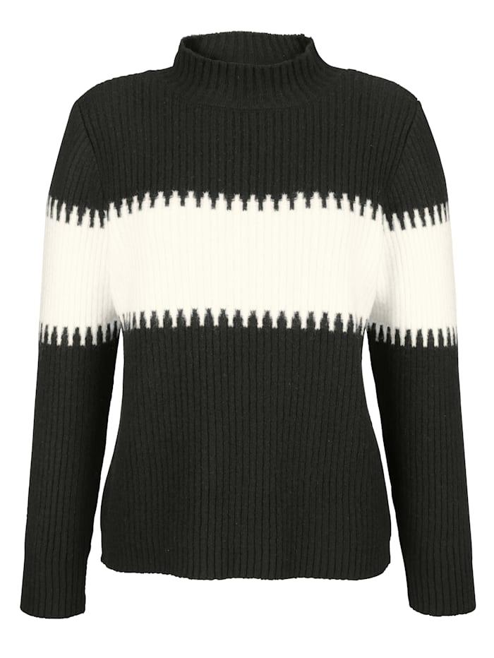 AMY VERMONT Pullover in Rippoptik, Schwarz/Off-white