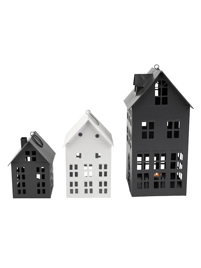 IMPRESSIONEN living Laternenhaus-Set, 3-tlg., Hellgrau/Weiß/Grau