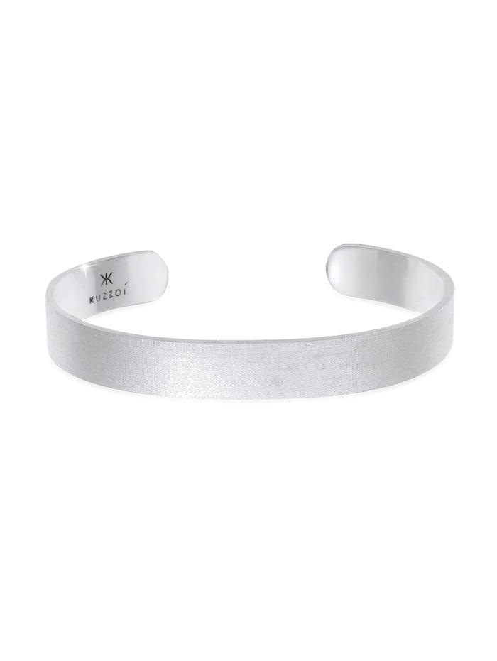 Kuzzoi Armband Herren Armreif Offen Glanz Breit Basic 925 Silber, Silber