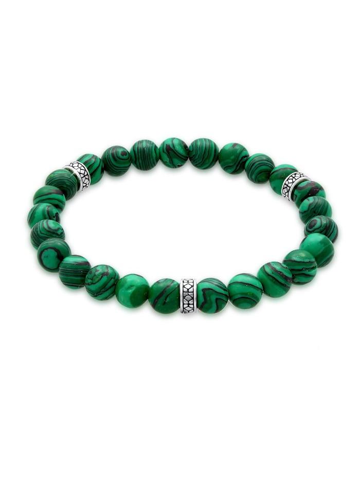 Kuzzoi Armband Herren Oxidiert Achat Matt Grün Look 925Er Silber, Grün