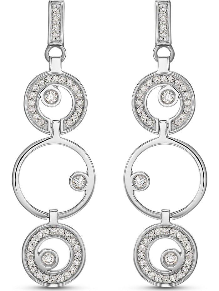Jette JETTE Damen-Ohrstecker 925er Silber 88 Zirkonia, silber