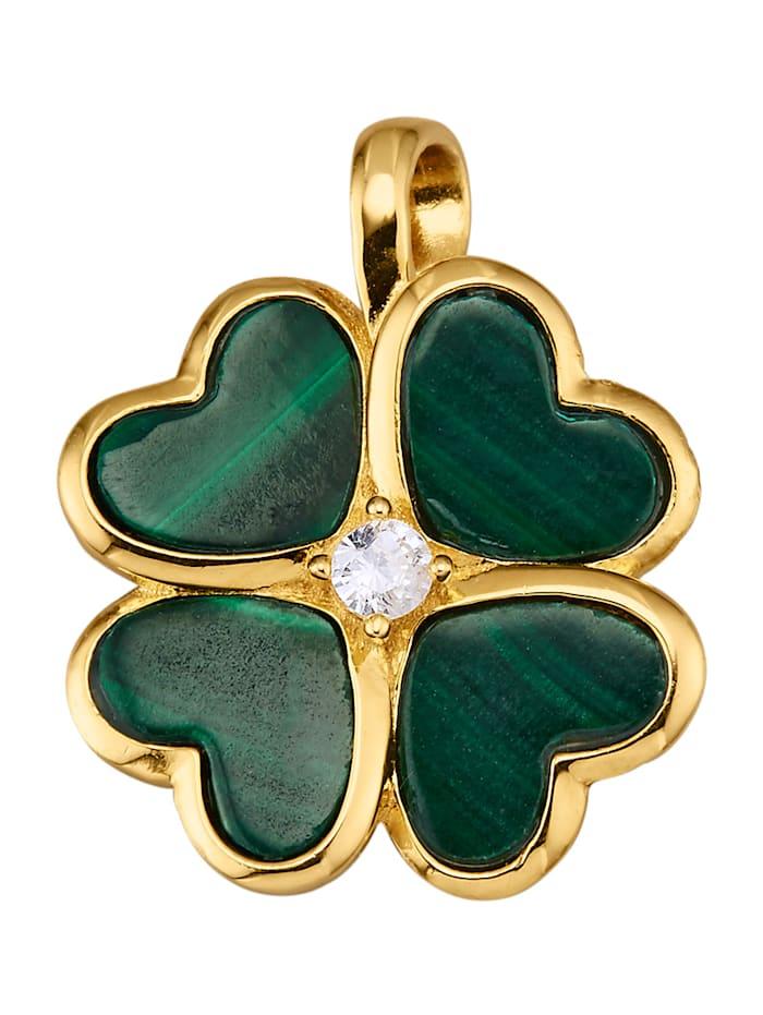 Diemer Highlights Anheng i sølv 925, gullfarget, Grønn