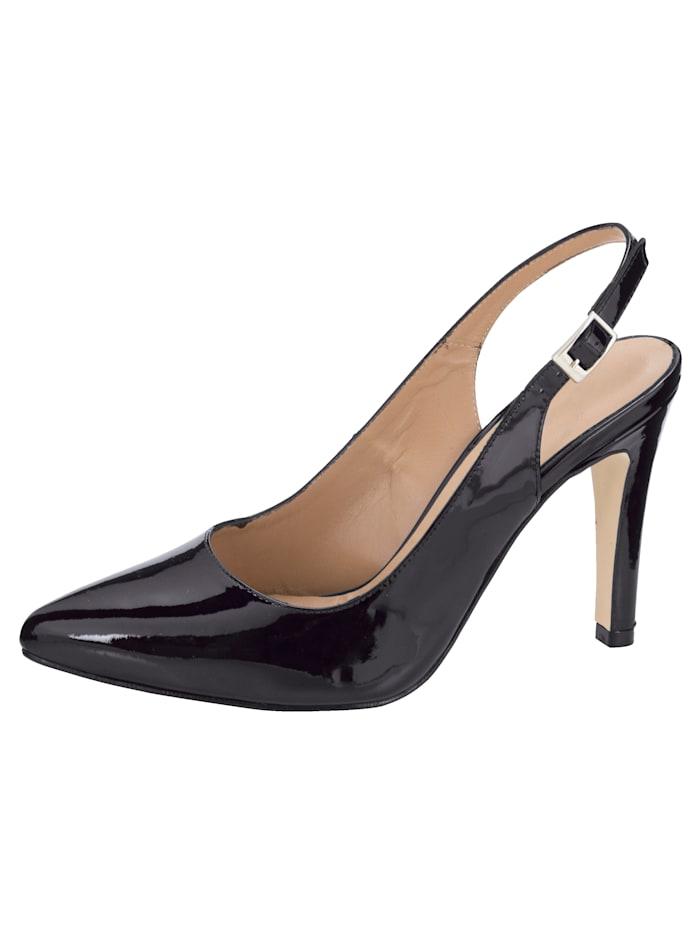 Gennia Sling obuv v modernom vzhľade, Čierna
