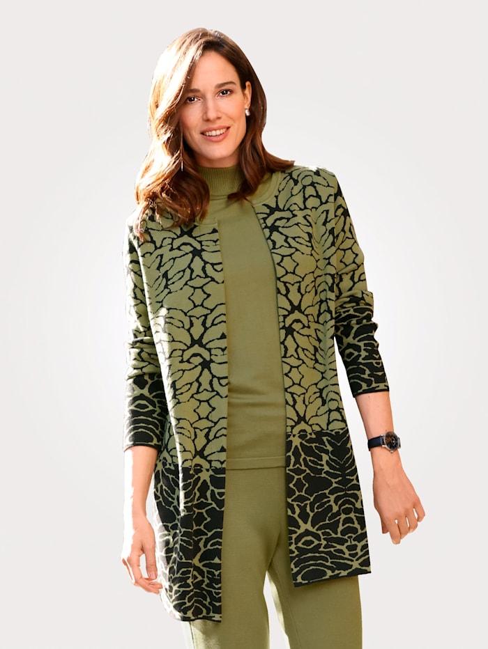 MONA Cardigan in a jacquard knit, Pistachio Green/Black
