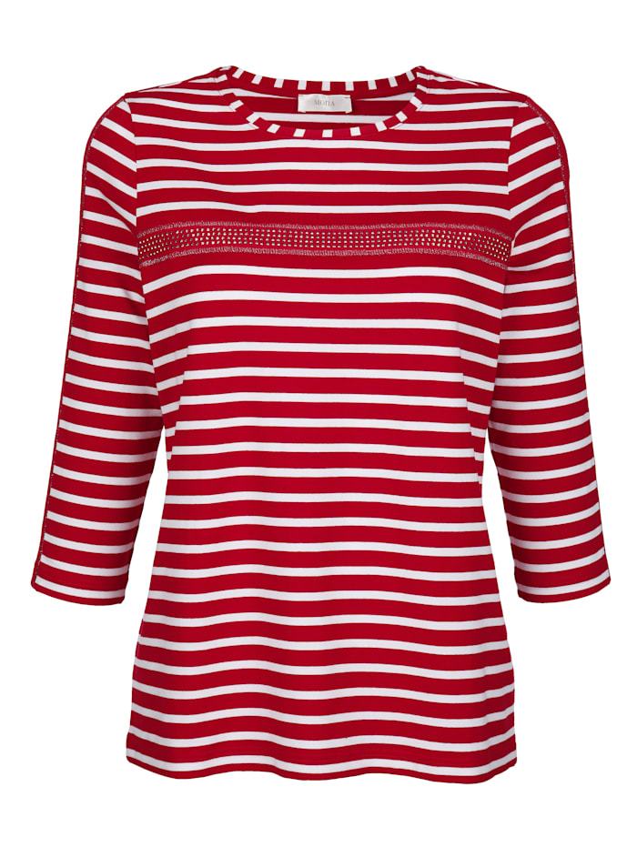 MONA Shirt mit effektvollem Glanzgarn, Rot/Natur