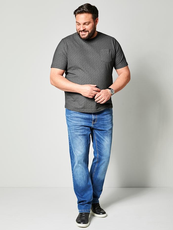 Men Plus T-shirt met een opgestikte borstzak, Zwart/Grijs