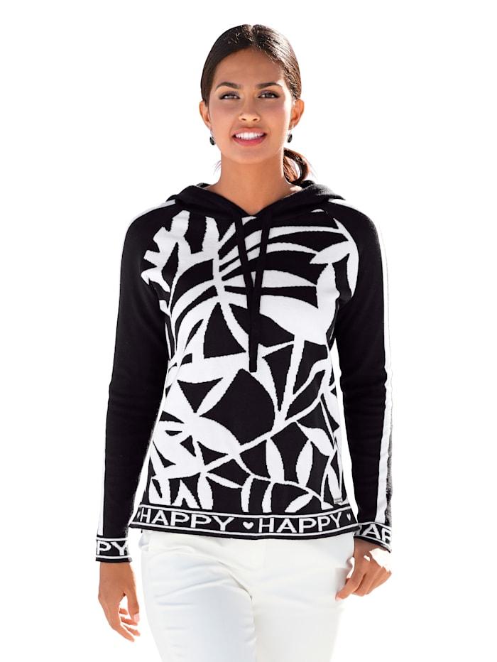 AMY VERMONT Pullover mit Logo Tape und Kapuze, Schwarz/Weiß