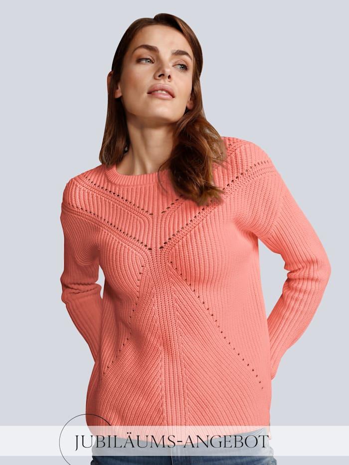 OUI Pullover mit schönem Lochmuster, Orange