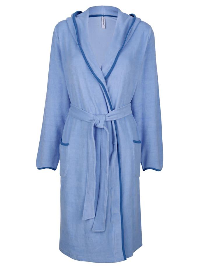 MONA Badjas met contrasterende paspels, Lichtblauw