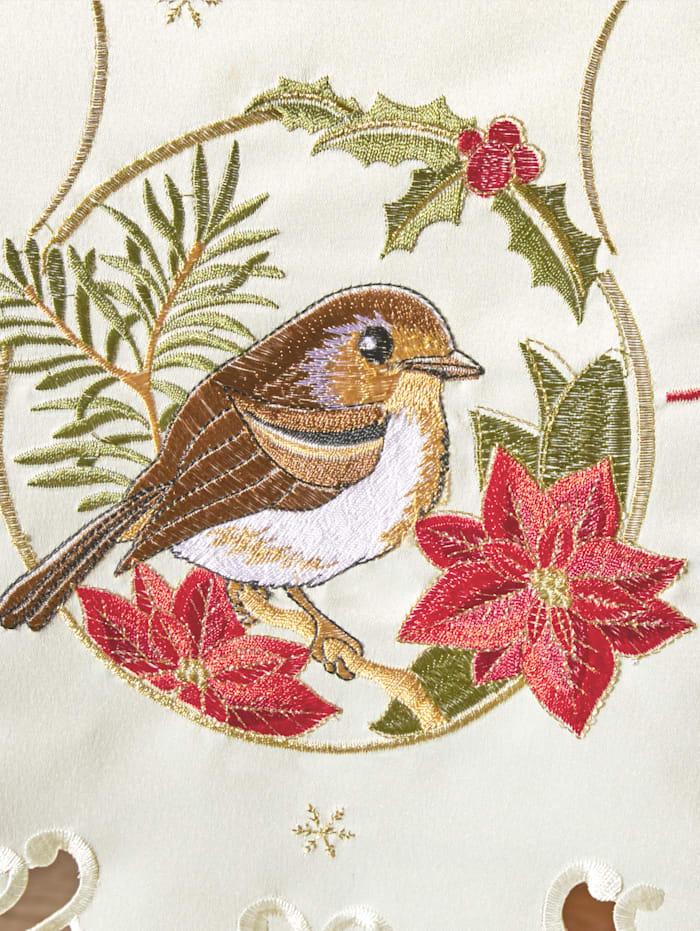 Dukserie med fåglar och julstjärnor