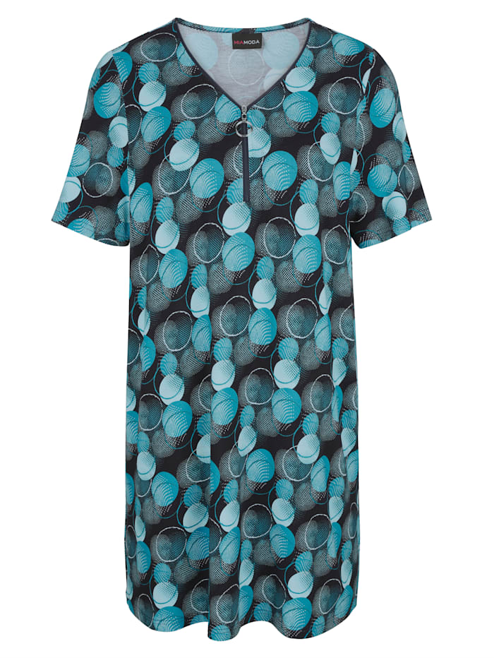 MIAMODA T-shirt long à imprimé graphique, Marine/Turquoise