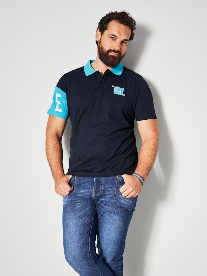 Men Plus Poloshirt van zomers lichte stof, Marine/Turquoise