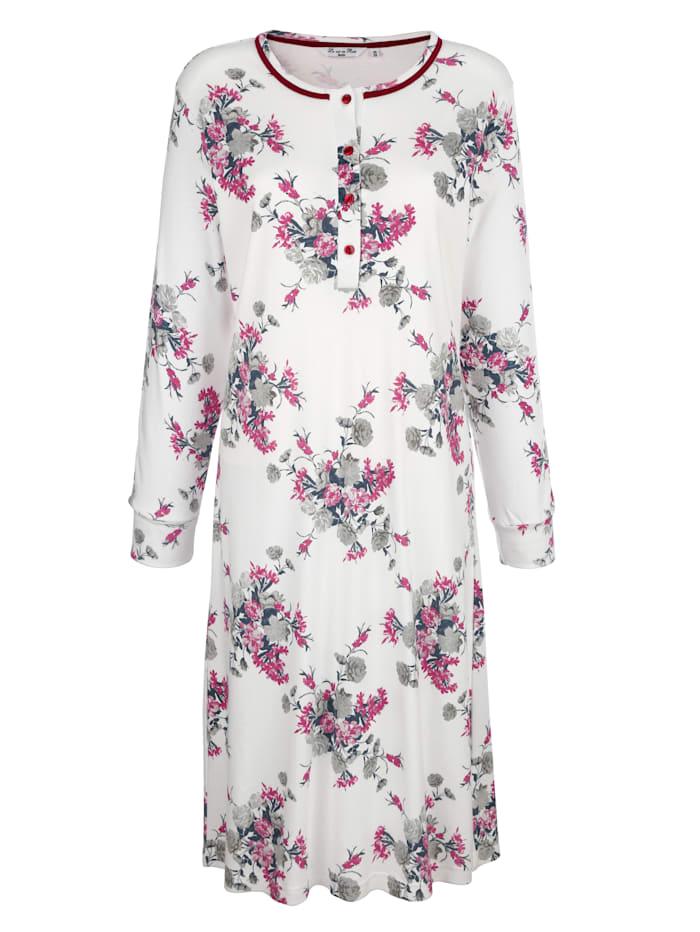 Hajo Nachthemd met mooie bloemenprint, Ecru/Bordeaux/Grijs