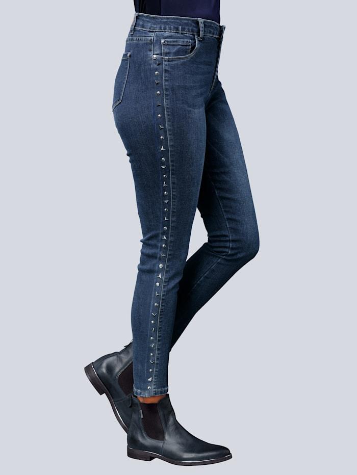 Jeans met versiering langs de naad