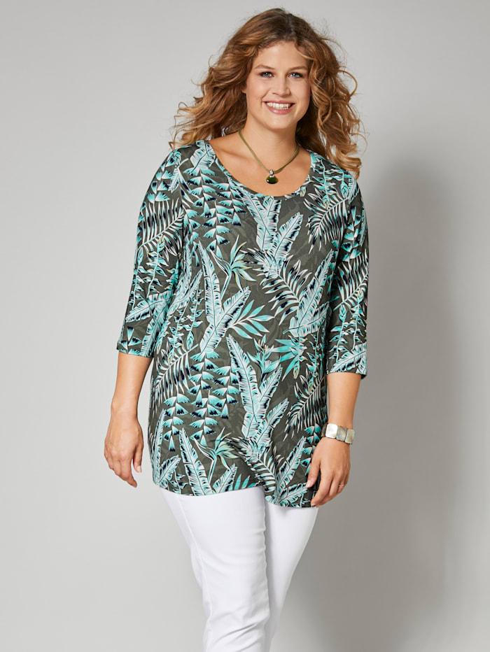 Janet & Joyce Shirt mit floralem Druck, Khaki
