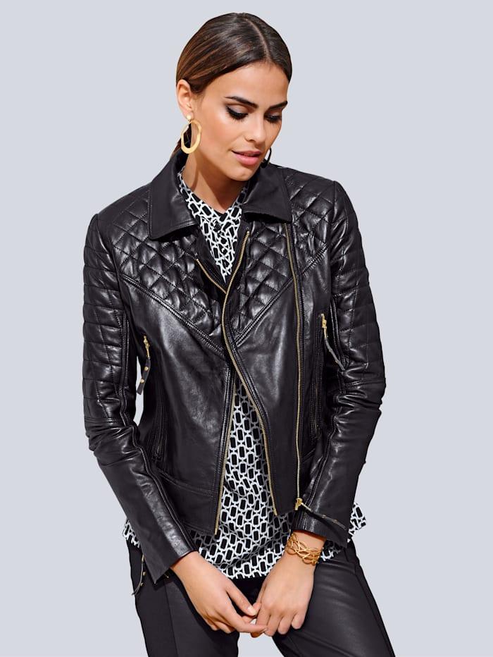 Alba Moda Leren jasje in trendy bikerstyle, Zwart