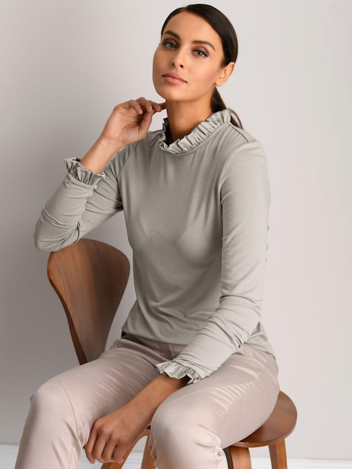 Alba Moda White Shirt mit kleinem Stehkragen, Taupe