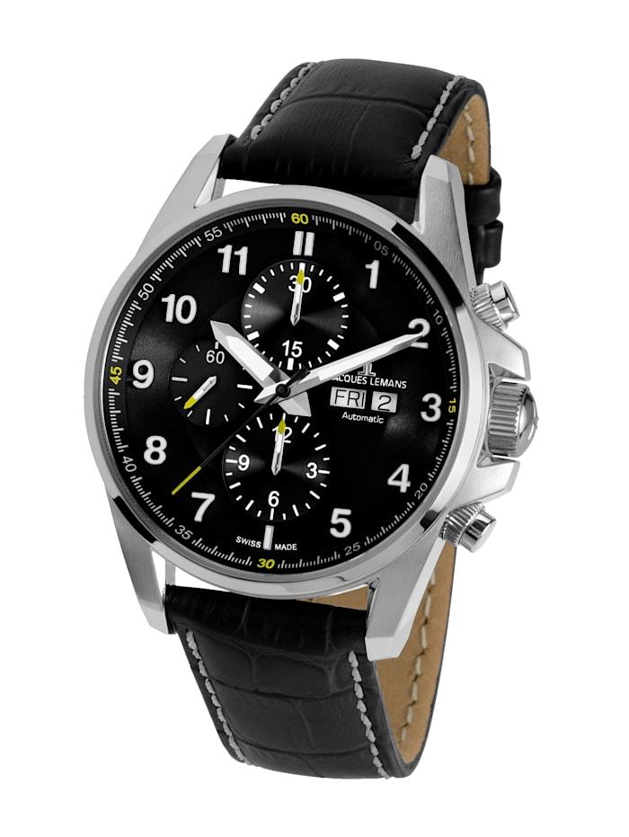 Jacques Lemans Herren- Uhr Automatik-Chronograph Serie: Liverpool Automatic, Kollektion: Sport: 1- 1750A, Schwarz