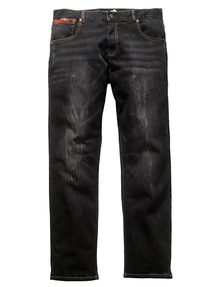 Men Plus Jeans med specialskärning som ger plats för magen, Black stone