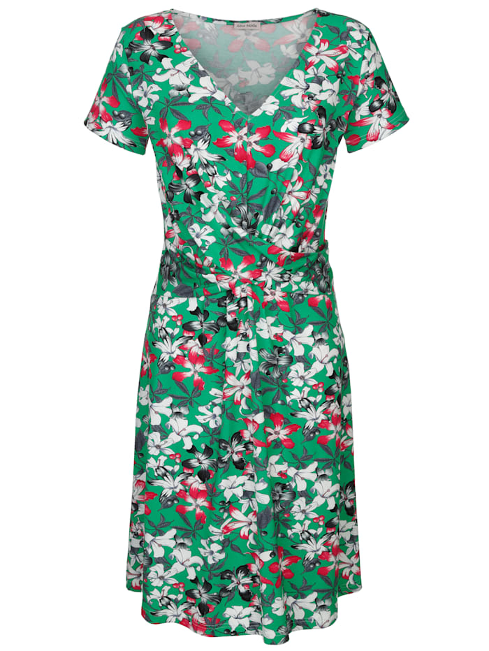 Alba Moda Strandkleid mit Blumendruck, grün-bunt