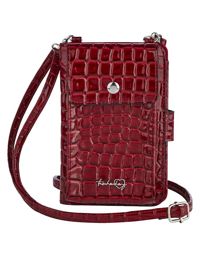 Taschenherz Handytasche inklusive Geldbörse, rot-kroko