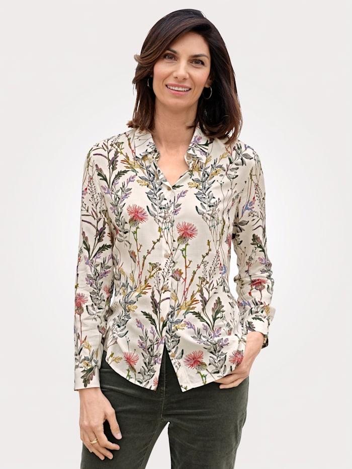 MONA Bluse mit floralem Muster, Ecru/Grün/Fuchsia