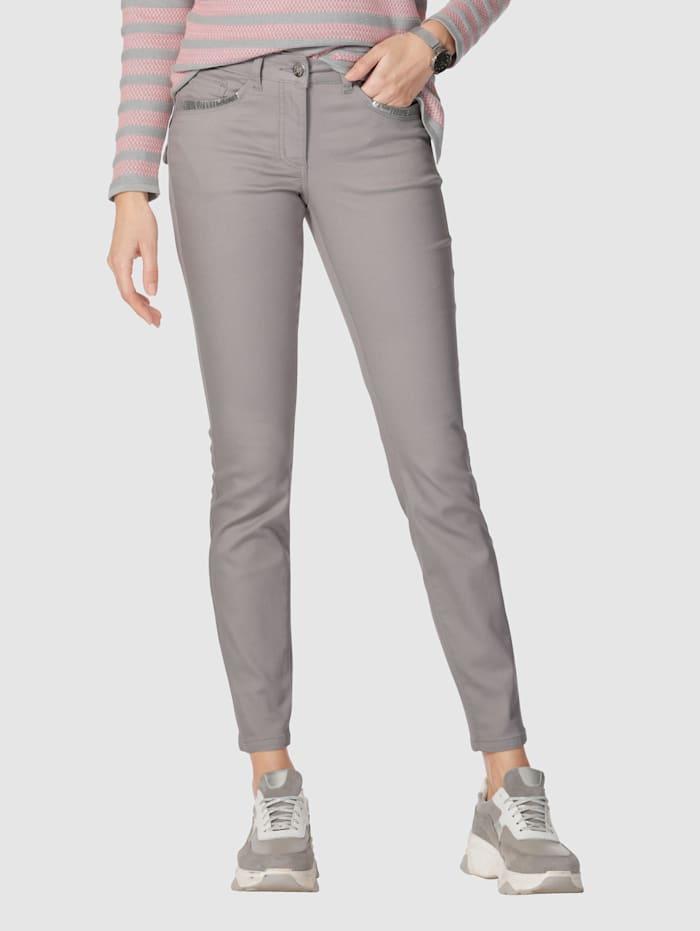 AMY VERMONT Jeans mit Pailletten an Vorder- und Hintertaschen, Grau