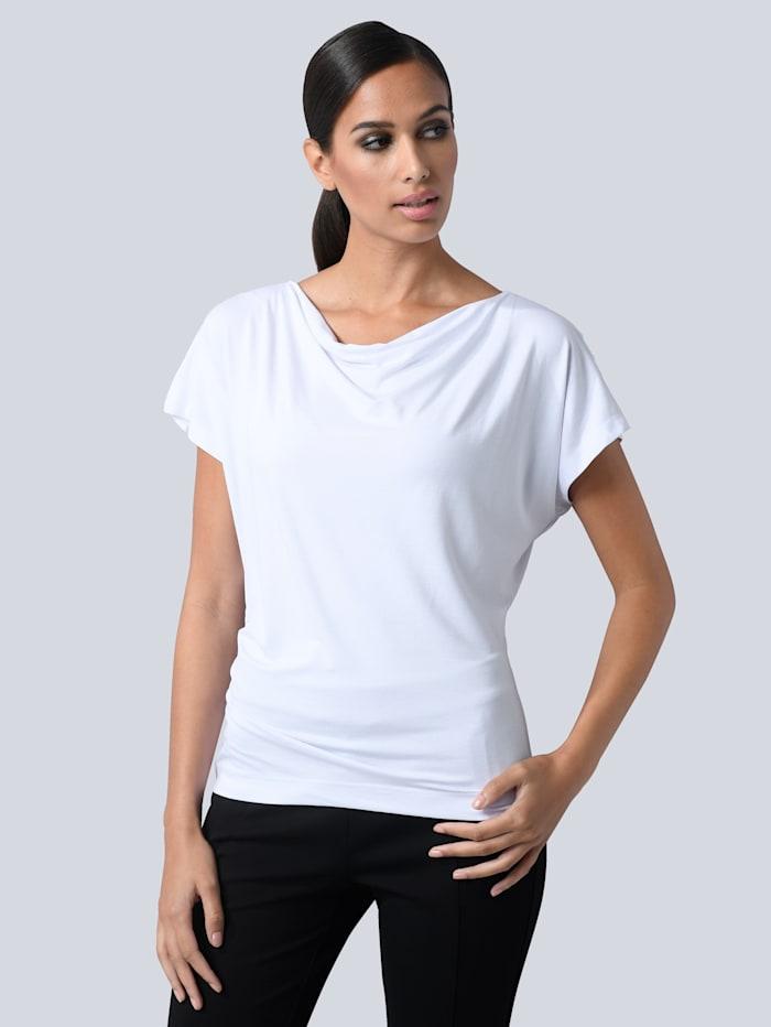 Alba Moda Shirt mit leichtem Wasserfallausschnitt, Weiß