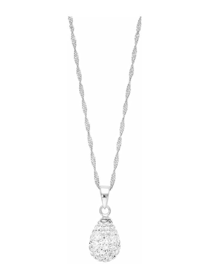Kette mit Anhänger für Damen, Sterling Silber 925, Kristallglas Tropfen