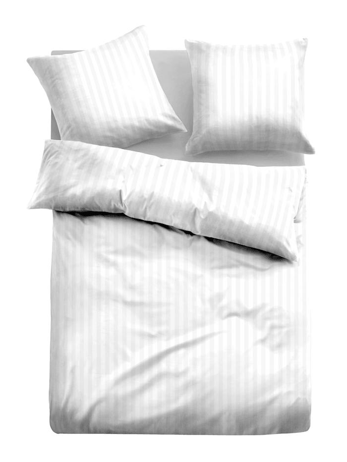 Tom Tailor Jacquard Satin Bettwäsche 'Marcela', White