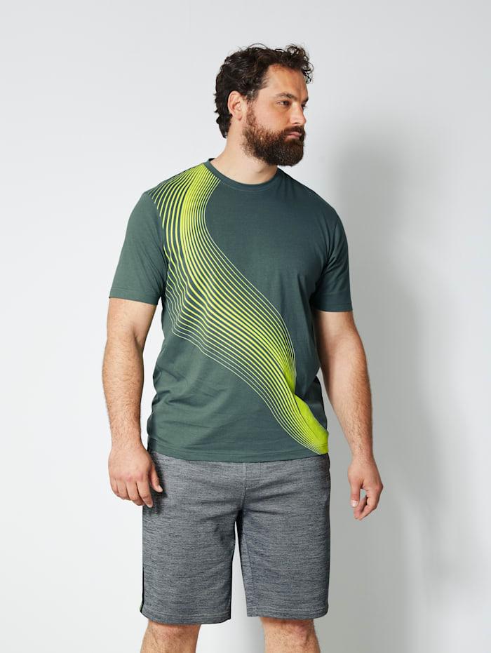 Men Plus T-Shirt mit kontrastfarbenem Print, Dunkelgrün/Neongelb