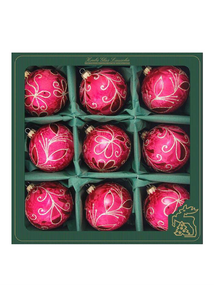Krebs Glas Lauscha Weihnachtskugel-Set 'Eislack', Eislack rot