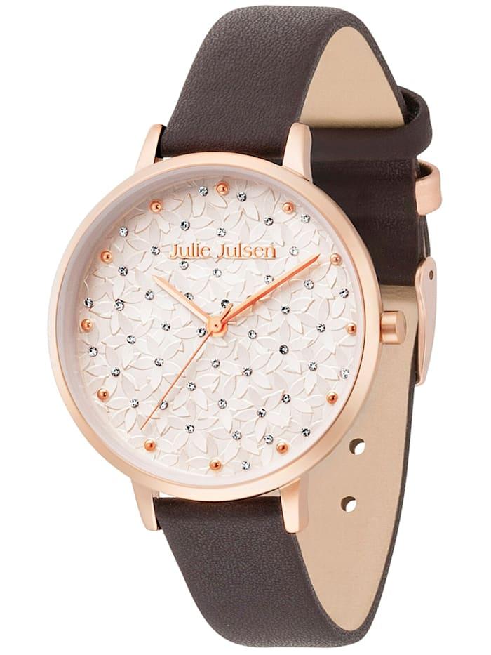 Julie Julsen Damen-Armbanduhr Blüten Ø 36 mm, Silberfarben