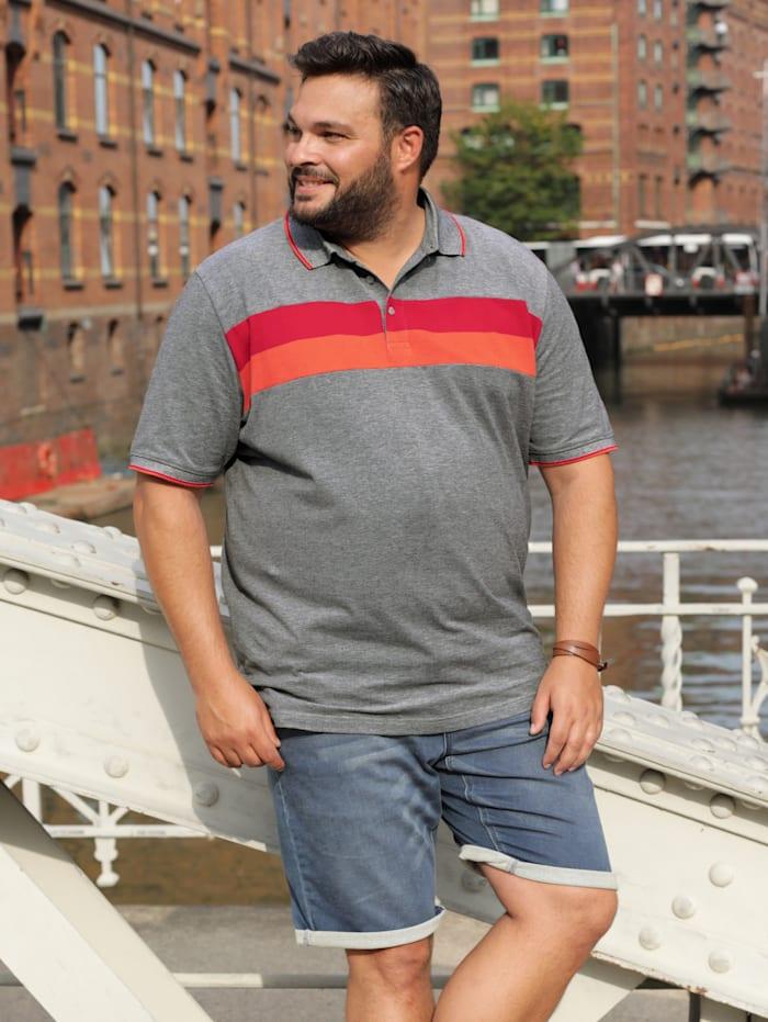 Men Plus Poloshirt aus reiner Baumwolle, Schwarz/Weiß/Rot