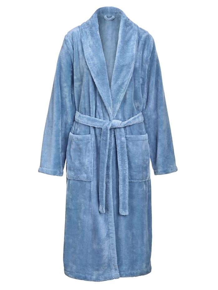 Harmony Bademantel in weicher Flausch-Qualität, Blau