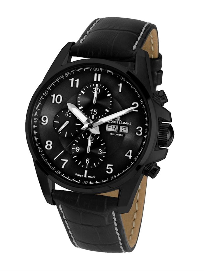 Jacques Lemans Herren- Uhr- Automatik-Chronograph Serie: Liverpool Automatic, Kollektion: Sport: 1- 1750C, Schwarz