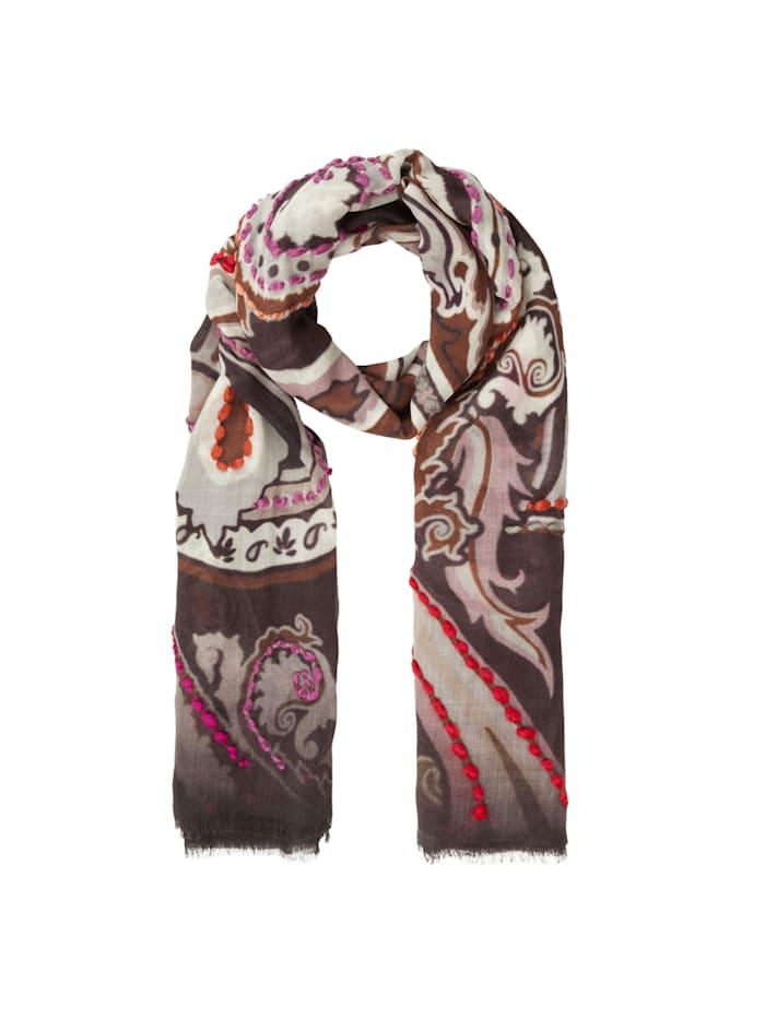 Codello Premium Paisley-Schal aus Wolle, dark brown