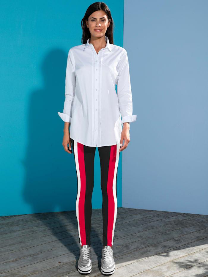 AMY VERMONT Raitakuvioidut leggingsit, Musta/Punainen/Valkoinen