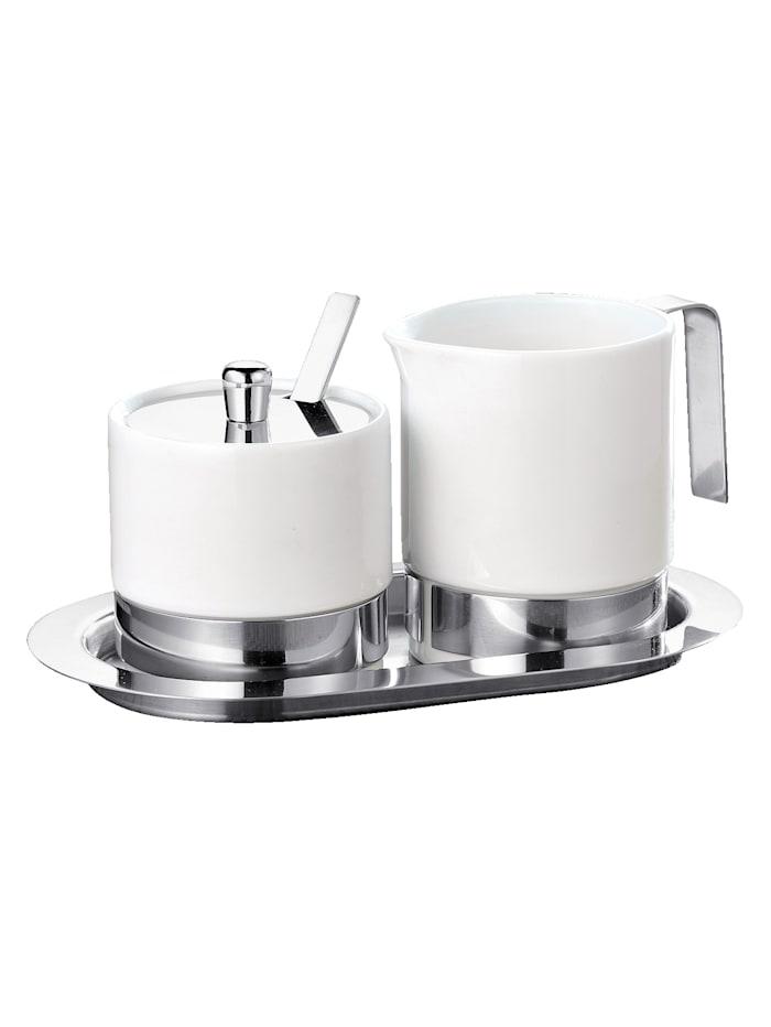 Esmeyer Sukkerskål og melkekanne, stål/hvit