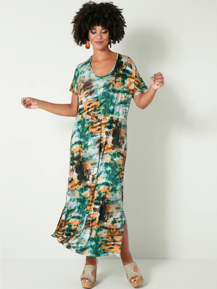 Angel of Style Maxiklänning med batikinspirerat mönster, Olivgrön/Offwhite