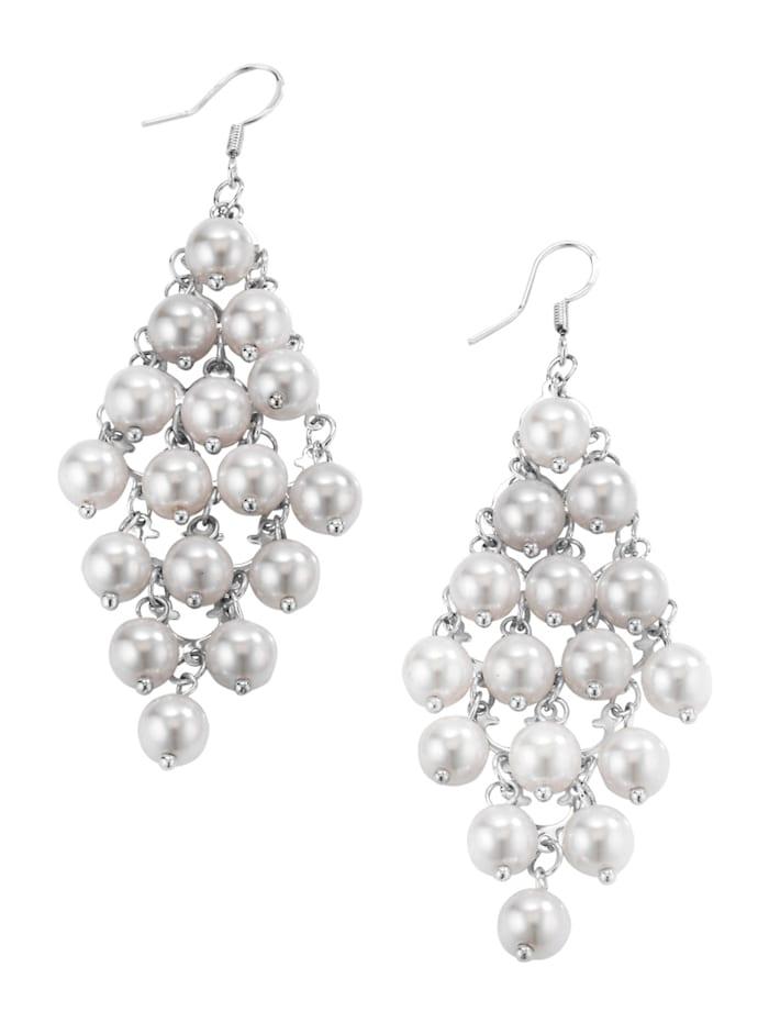 Alba Moda Ohranhänger mit Perlenbehang, Weiß