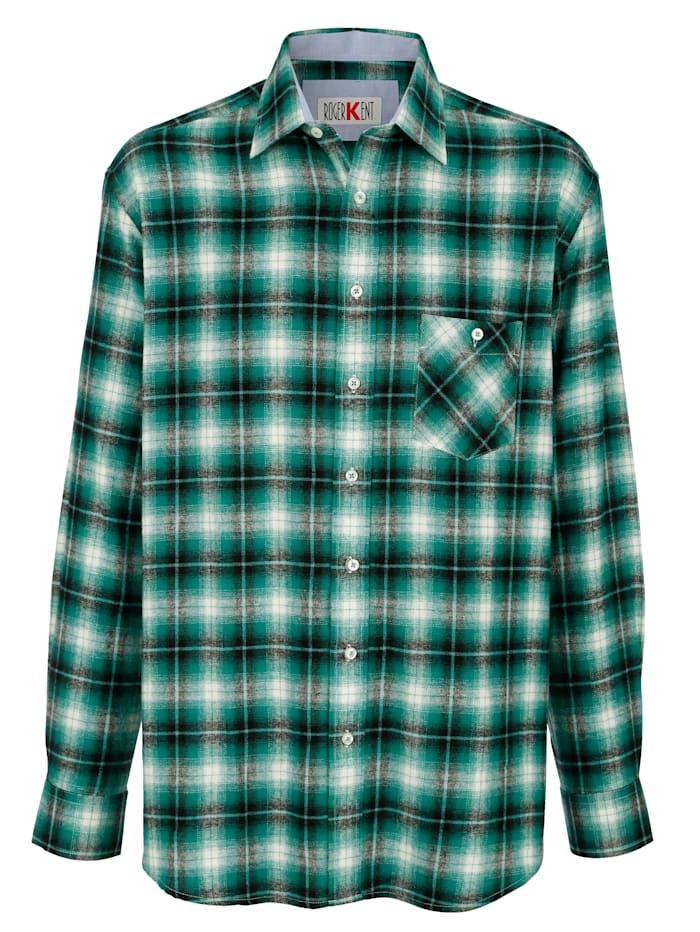 Roger Kent Overhemd met handige borstzak, Groen/Zwart