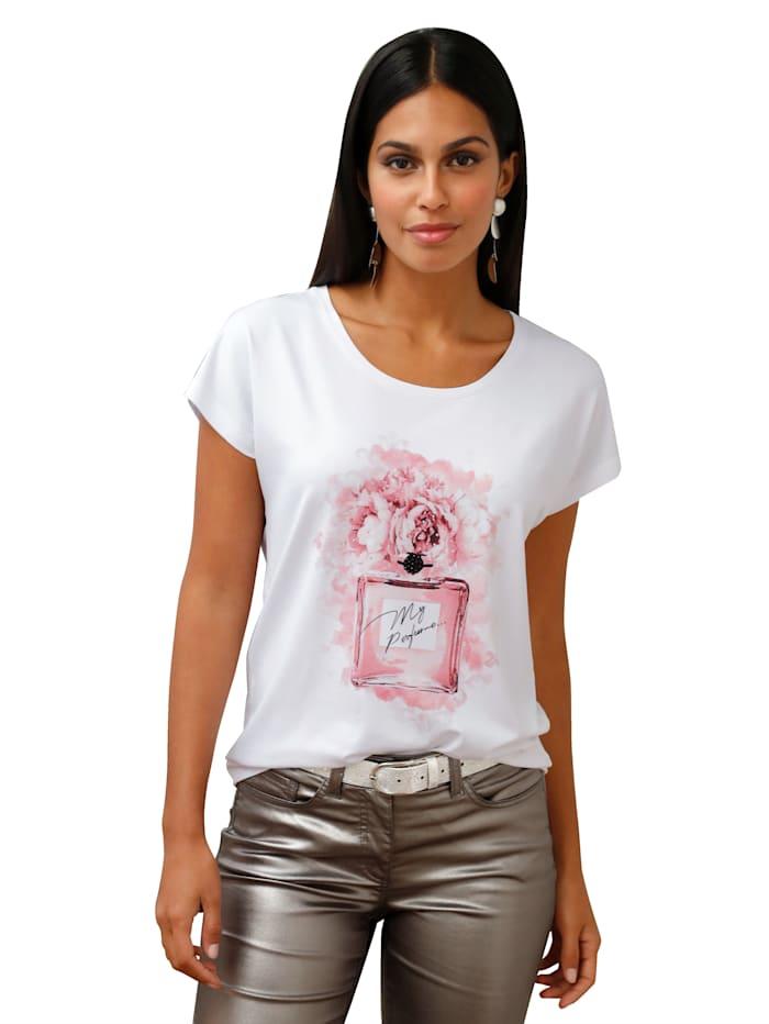 AMY VERMONT Shirt mit Druck und Strasssteindeko, Weiß
