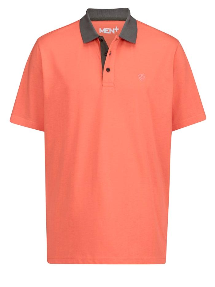 Men Plus Poloshirt schnelltrocknend, Dunkelgrau/Koralle
